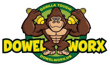 Dowel Worx gorilla cartoon logo by George Coghill.